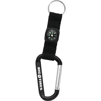 Carabiner with Compass - CLOSEOUT! Please call to confirm inventory available prior to placing your order!<br />8mm carabiner. Woven nylon strap with compass. Metal split key ring.