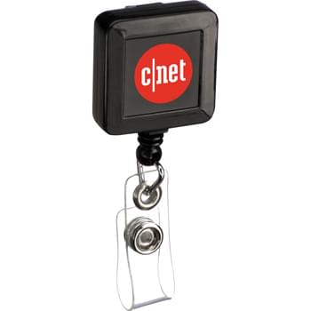 "Square Badge Holder - Retracting cord extends 32"". Belt clip on back. Great for tradeshows and employee badges. Can also be used as a key ring holder."