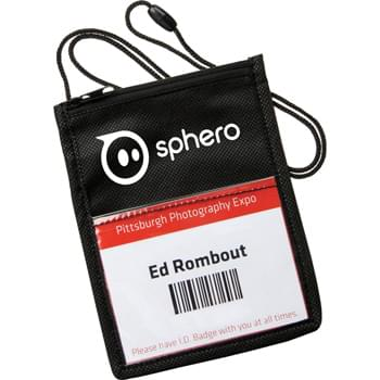 "The Identity Badge Holder - Large main zippered-top pocket. Clear PVC pocket on each side for badge/ID display. Elastic pen loop on front. Break-away lanyard. Front window size: 3-3/4"" H x 4"" W.  Back window size: 2-3/4"" H x 4"" W."