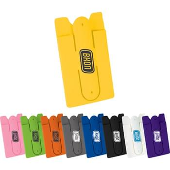 Silicone Phone Wallet with Stand - This soft protective silicone wallet with adhesive tape that can be easily attached on the back of phones to hold 2-3 credit cards and/or ID cards. It can be used as a phone stand. It also can be used as earbuds wrap. Due to item material, PMS matching is not available.