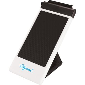 Deluxe Mobile Phone Holder - Desktop mobile phone holder with folding stand.  Includes removable soft rubber stylus/screen cleaner combo for touchscreen devices.