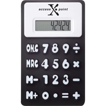 The Flex Calculator - Calculator features flexible rubberized material, raised numbers and memory functions.