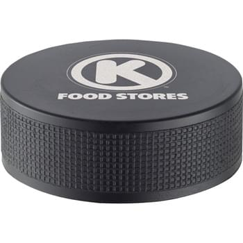 Hockey Puck Stress Reliever - Squeezable foam.