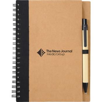 The Eco Spiral Notebook & Pen - Spiral notebook with matching ballpoint pen. Includes 60 ruled pages and matching color elastic pen loop.