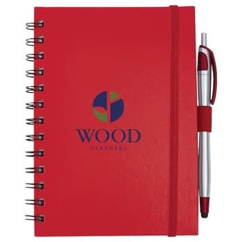 Inspiration Spiral with Pen-Stylus - Spiral notebook with elastic strap closure. Inside cover features a gusseted pocket.  Includes elastic pen loop, plastic ballpoint pen-stylus and 70 ruled pages. Pen imprint not available. Pens packed separately.