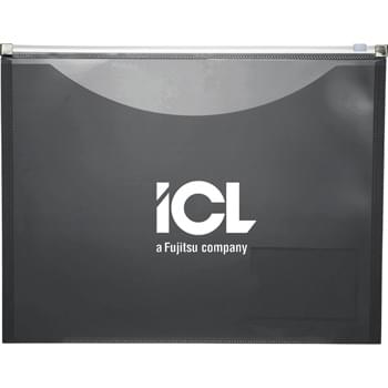 "On-The-Go Pocket Portfolio - Zippered portfolio that fits 8-1/2"" x 11"" paper. Full-size pocket on front to hold important documents.  Clear business card pocket on the back."