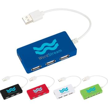 "Brick USB Hub - 4-port USB 2.0 hub. Compatible with any USB port. USB cord extends 6.5""."