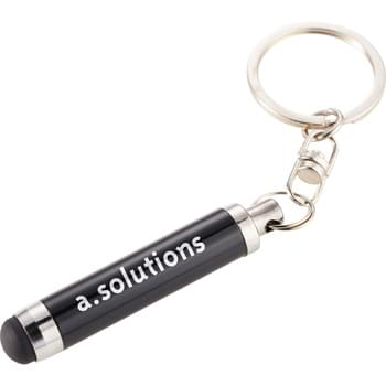 The Aria Stylus Keychain - Soft rubber mini-stylus for touchscreen devices.  Metal split key ring.