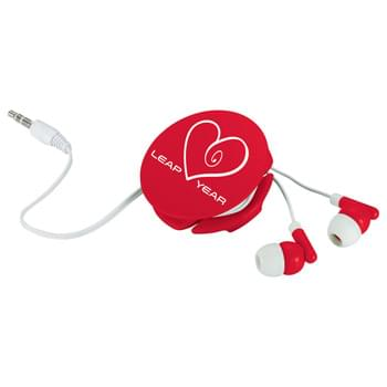 Round Up Earbuds - Use with any standard audio device. 3.5mm audio jack and a 50 inch earbud cable. Case doubles as a earbuds holder. Media device not included.