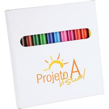 12-Piece Colored Pencil Set - 12 colored pencils in a white paper box. Pencil colors include yellow, orange, red, pink, fuchsia, light blue, navy blue, lime green, dark green, brown, dark brown and black.