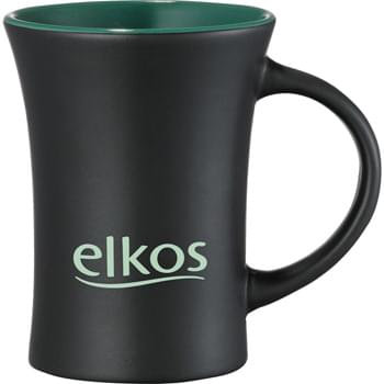 Dakota 10-oz. Ceramic Mug - CLOSEOUT! Please call to confirm inventory available prior to placing your order!<br />Tapered design mug with large handle.  Matte exterior finish with interior color accent.