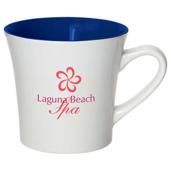 Cheer 11-oz. Ceramic Mug - CLOSEOUT! Please call to confirm inventory available prior to placing your order!<br />Mug with high gloss white exterior and bright color accent interior. C-handle mug shape. See General Information page for special ceramic item handling charge. Hand wash only. Follow any included care guidelines.