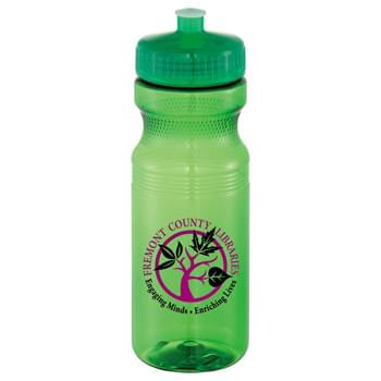 Easy Squeezy 24oz Sports Bottle - Crysta - USA-made, BPA-free sports bottle is made with Polyethylene (PET) material. 24-ounce bottle. Twist-on lid with push/pull drinking spout. Phthalate-free, Non-Toxic and Lead-free. Translucent Bottle color matches lid color. Bottles and lids shipped separately (lids not attached). See General Information page for lid assembly charges. Hand wash only. Follow any included care guidelines.