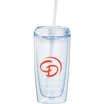 Twister 16-oz. Tumbler with Straw - Double-wall tumbler with twist-on lid and matching straw.