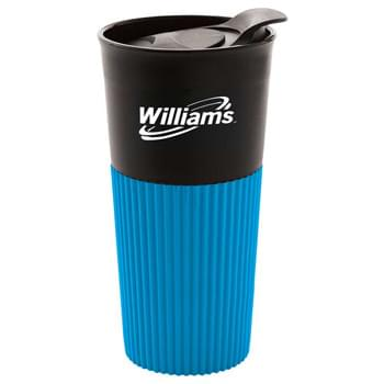 Wrapper 16-oz. Tumbler - Single wall tumbler with colored silicone wrap. Push on lid with slide-lock drink opening. BPA free. Hand wash only. Follow any included care guidelines.
