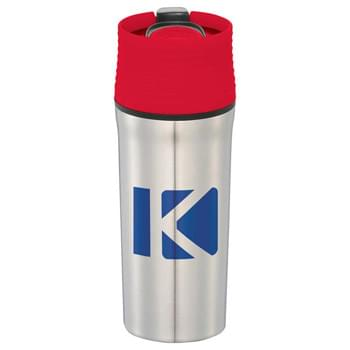 Sonar 18-oz. Travel Tumbler - CLOSEOUT! Please call to confirm inventory available prior to placing your order!<br />Double-wall construction. Push-on lid with tab and slide-lock opening. Hand wash only. Follow any included care guidelines.
