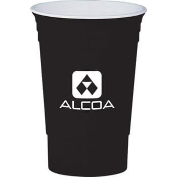 The 16-oz. Party Cup - USA-made.  Double-wall construction. Classic party cup design with white interior accent.
