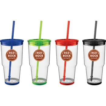 Biggie 24-oz. Tumbler with Straw - Single wall tumbler with silicone color accent on bottom.  Skid-proof. Color matching push on lid and straw. BPA free. Straw included, not inserted. Hand wash only. Follow any included care guidelines.