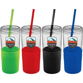 Babylon 22-oz. Tumbler with Straw - CLOSEOUT! Please call to confirm inventory available prior to placing your order!<br />Single wall tumbler with twist on lid and colored silicone wrap. Skid-proof.  Color matching straw included, not inserted. BPA free. Hand wash only. Follow any included care guidelines.