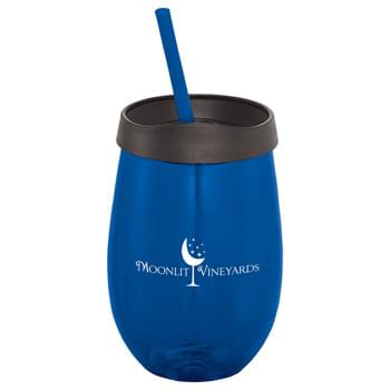 Stemless Fiesta 18-oz. Tumbler - Single-wall stemless tumbler with press-on lid and matching straw. Straws included, not inserted. Hand wash only. Follow any included care guidelines.