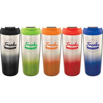 Gradient 18-oz. Tumbler - Double-wall construction. Twist-on lid with locking flip-top drink opening. On-trend, gradient color appearance. Hand wash only. Follow any included care guidelines.
