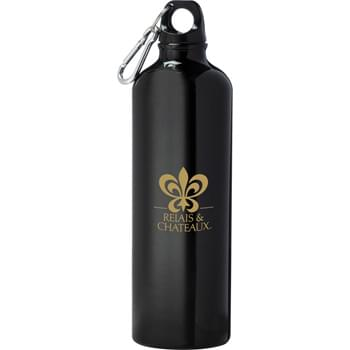 Pacific 26-oz. Aluminum Sports Bottle - Single-wall construction. Twist-on lid. Includes silver 5mm carabiner. Recyclable.