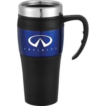 Bonaire 16-oz. Travel Mug - Double-wall construction. Stainless steel twist-on lid with slide-lock drink opening.