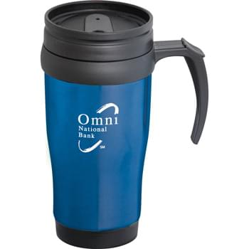 Sanibel 14-oz. Travel Mug - Double-wall construction. Twist-on lid with slide-lock drink opening.