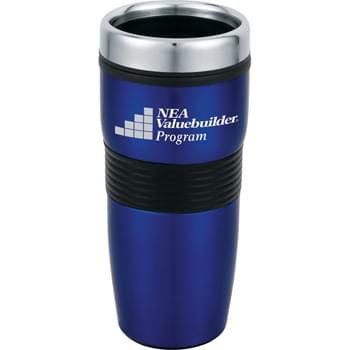 Cancun 16-oz. Travel Tumbler - CLOSEOUT! Please call to confirm inventory available prior to placing your order!<br />Double-wall construction. Stainless steel push-on lid with slide-lock drink opening.
