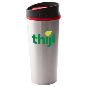 Georgia 16-oz. Travel Tumbler - Double-wall construction. Stainless steel outer with colored liner. Push on lid with slide-lock drink opening. Hand wash only. Follow any included care guidelines.