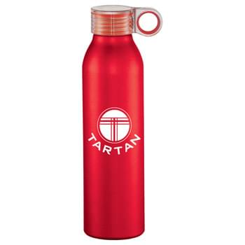 Grom 22-oz. Aluminum Sports Bottle - Single-wall construction. Screw-on, spill-resistant clear lid with color pop feature on the hook. Easy carry. Matte, metallic color finish. Hand wash only. Follow any included care guidelines.