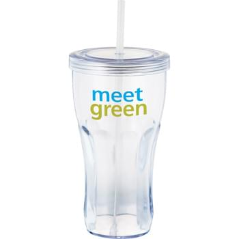 Fountain Soda 24-oz. Tumbler - Single-wall tumbler with twist-on lid and matching straw.