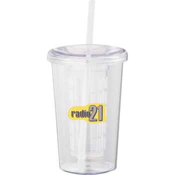 Tutti Frutti 20-oz. Tumbler with Straw - CLOSEOUT! Please call to confirm inventory available prior to placing your order!<br />Single-wall tumbler with twist-on lid and matching straw.  Includes twist-on fruit infuser to add flavor to your favorite drink.