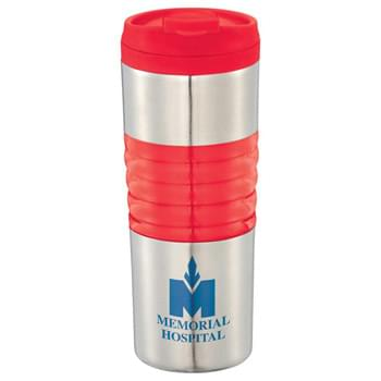 Ripple 16-oz. Travel Tumbler - CLOSEOUT! Please call to confirm inventory available prior to placing your order!<br />Double-wall construction. Screw-on lid with no-spill, snap-top design. Hand wash only. Follow any included care guidelines.