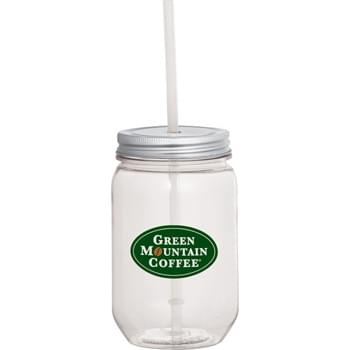Mason Jar 22-oz. with Silver Tin Lid - Single wall mason tumbler with silver twist-on lid and clear straw.