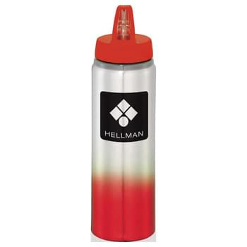 Gradient 25 oz. Aluminum Sports Bottle - Single-wall construction. Screw-on, spill-resistant lid with flip-top drinking spout. Trendy, gradient color appearance. Hand wash only. Follow any included care guidelines.
