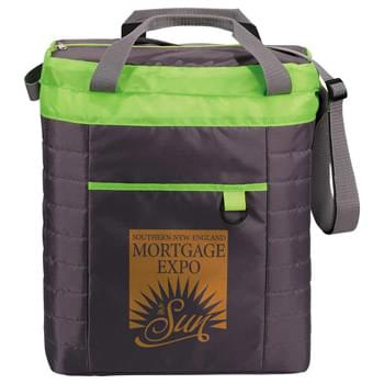 Quilted Event Cooler - Quilted body. Large zippered insulated compartment. Zippered front pocket. 5.5' grab handles.