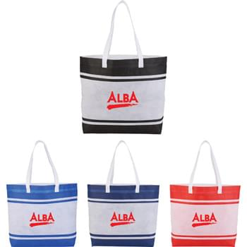 "Non-Woven Stripes Tote - CLOSEOUT! Please call to confirm inventory available prior to placing your order!<br />Coming Soon! Open main compartment, Large front slash pocket with Velcro&reg; closure. 26"" handles."
