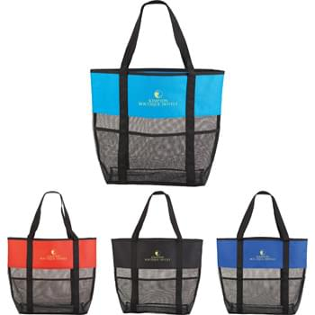 "Utility Beach Tote - The open main compartment and mesh body makes this tote the perfect beach accessory Utility pockets run around the whole bag allowing for extra space to store water bottle, magazines and snacks. Mesh bottom allows for sand to be easily shaken through. 23.5"" handles."