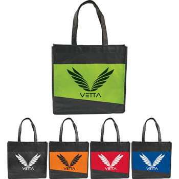 "Laminated Non-Woven Convention Tote - CLOSEOUT! Please call to confirm inventory available prior to placing your order!<br />Great for tradeshows, conventions or business meetings.Open main compartment. Laminated material easily wipes clean. 11.5"" drop handle height."