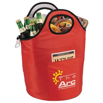Party Cooler - The perfect cooler for your next party or tailgate. Large open insulated main compartment. Double grab handles and metal bottle opener included.