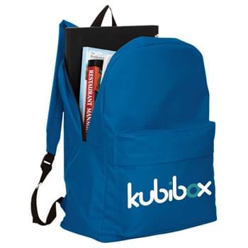 "Buddy Budget 15"" Computer Backpack - Zippered main compartment features padded laptop compartment that holds most 15"" laptop computers. Large gusseted zippered front pocket with protective flap. Adjustable reinforced padded shoulder straps. Top carry handle. Media device not included."