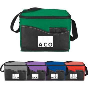 Rivers Non-Woven Lunch Cooler - CLOSEOUT! Please call to confirm inventory available prior to placing your order!<br />Insulated with heat-sealed water-resistant lining. Zippered main compartment. Open front pocket with three utensil sleeves. Reinforced webbing strap.
