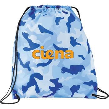 Camo Oriole Drawstring Cinch Backpack - Open main compartment with drawstring rope closure features different color camo prints. Reinforced bottom corner tabs.