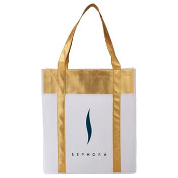 Metallic Non-Woven Shopper Tote - The Non-Woven Metallic Shopper Tote adds some shine to the basic shopper tote. Open main compartment. Metallic accents throughout the tote as well as the 22' handles.