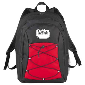 "Adventurer 17"" Computer Backpack - Large zippered main compartment which can hold up to a 17' laptop. Bungee detail with reflective accents on front panel for extra storage and security. Side mesh pocket. Padded and adjustable shoulder straps. Top grab carry handle."