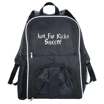 Sportin Match Ball Backpack' - Large zippered main compartment. Zippered mesh front opening large enough to hold a full sized basketball, soccer ball, volley ball or other sports equipment. Two mesh pockets on sides. Adjustable straps. Top carry handle.