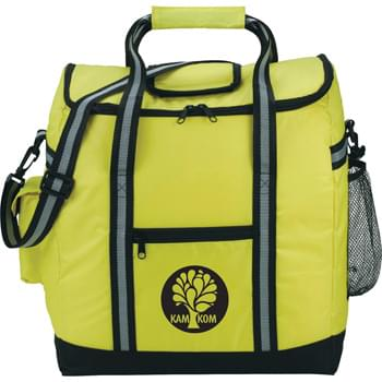 "The Beach Side Deluxe Event Cooler - PEVA insulation. Zippered main compartment. Zippered front pocket. Side mesh pocket. Side pocket with Velcro closure. Double 19"" reinforced carry handles. Removable, adjustable shoulder strap."