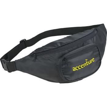 The Hipster Deluxe Fanny Pack - Zippered main compartment. Zippered front pocket. Hidden zippered pocket on rear. Adjustable waist strap with buckle for putting on.