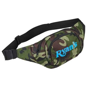 Camo Hunt Fanny Pack - Zippered main compartment. Zippered front pocket. Adjustable waist strap with buckle for putting on.
